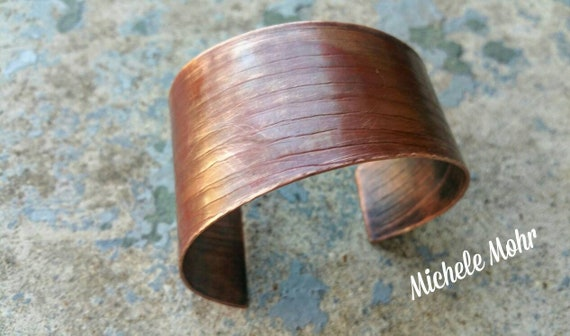 Asymmetrical Wide Textured Copper Cuff