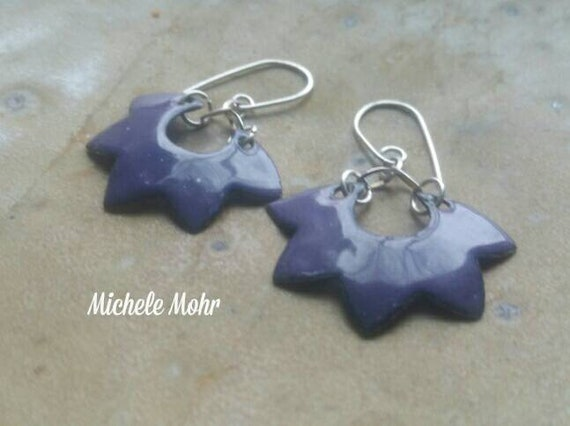 Grape Purple Enamel and Sterling Silver Lotus Earrings