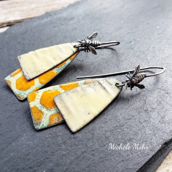 Bee Hive Vitreous Enamel and Sterling Silver Earrings