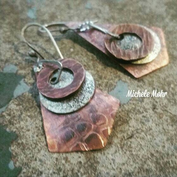 Mixed Metal Textured and Hammered Copper and Sterling Silver Earrings