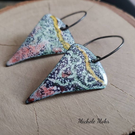 Sgrafitto Hand Painted Enamel and Sterling Silver Earrings