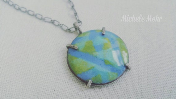 Serene Blue and Green Kiln Fired Enamel Pendant/Necklace