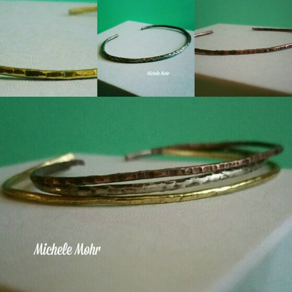 Hammered Skinny Mixed Metal Cuff Bracelets. .925 Sterling Silver, Brass, Copper, Stackable, Stacking Bracelets