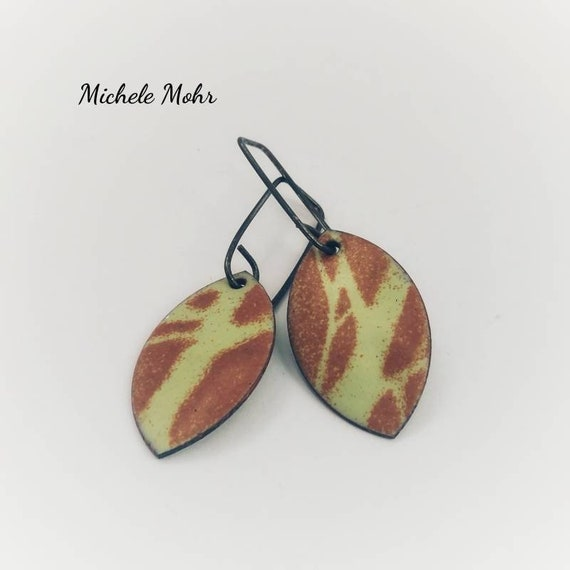 Matte Leaf Enamel Earrings - Glass fused to copper. Oxized sterling silver earrings. Artisan jewelry.