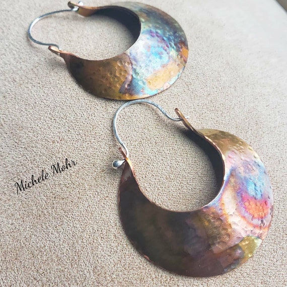 Flame Painted Hammered Copper Crescent Earrings with Fine Silver Ear Wires