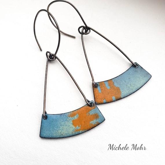Blue Skies Vitreous Enamel and Sterling Silver Earrings