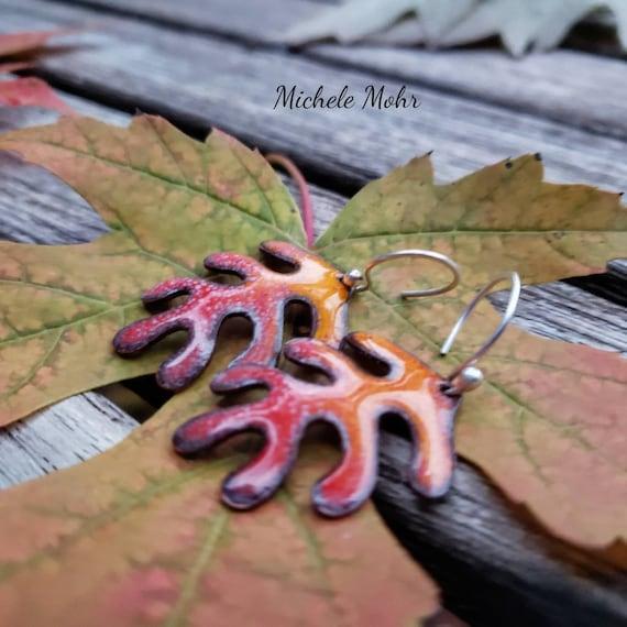 Autumn Leaf Vitreous Enamel and Fine Silver Earrings