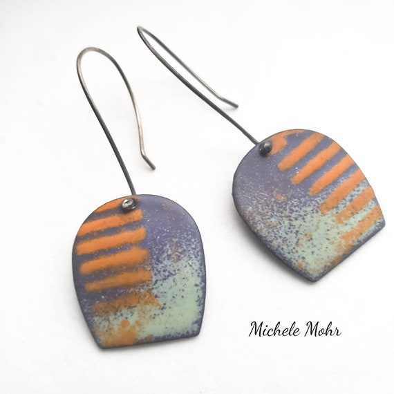 Hazy Lazy Days of Summer Vitreous Enamel and Sterling Silver Earrings