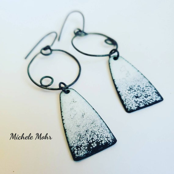 Titanium White and Slate Gray Enamel and Oxidized Sterling Silver Earrings