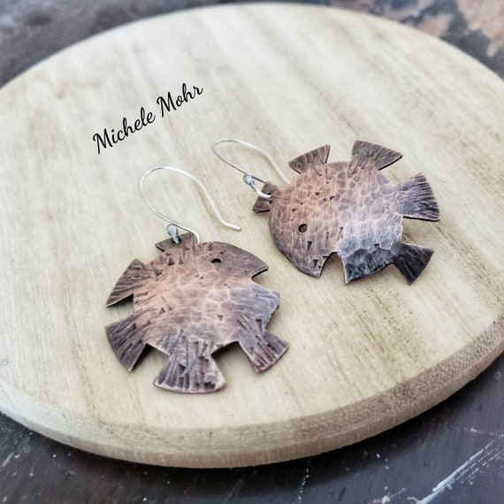 Something Fishy Handfabricated Copper and Sterling Silver Earrings