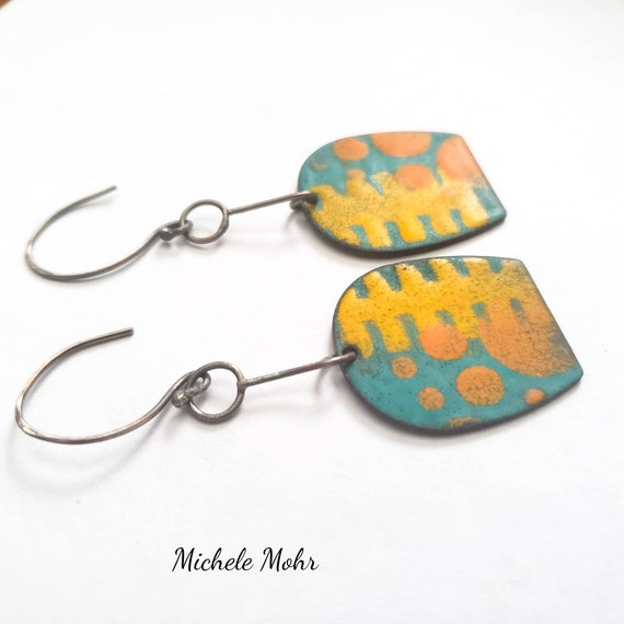 Sunday Drive Vitreous Enamel and Sterling Silver Earrings