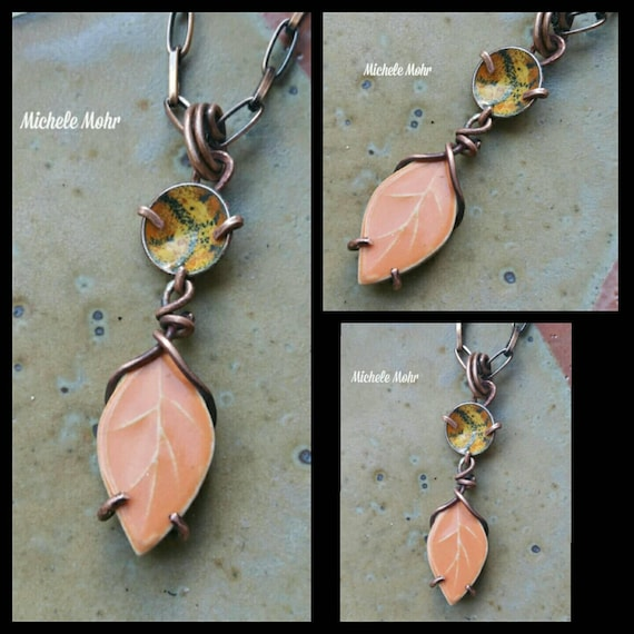 Summer Sunset Boho Ceramic Leaf and Enameled Copper Adjustable Necklce