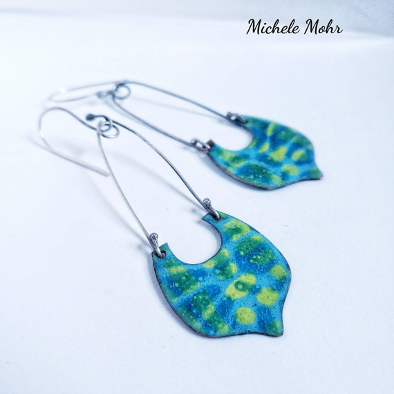 Still Waters Vitreous Enamel and Sterling Silver Earrings