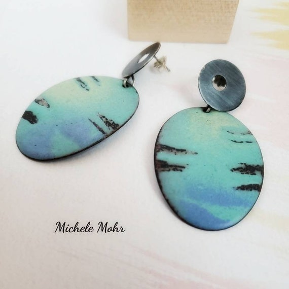 Blue Lagoon Large Vitreous Enamel and Oxidized Sterling Silver Earrings