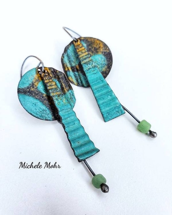 California Dreaming Corrupt Vitreous Enamel Earrings with Oxidized Sterling Silver Ear Wires