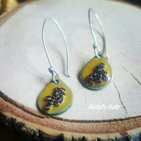 Desert Bloom Enamel Sterling Silver Teardrop Earrings