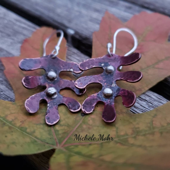 Hammered Copper and Fine Silver Leaf Earrings
