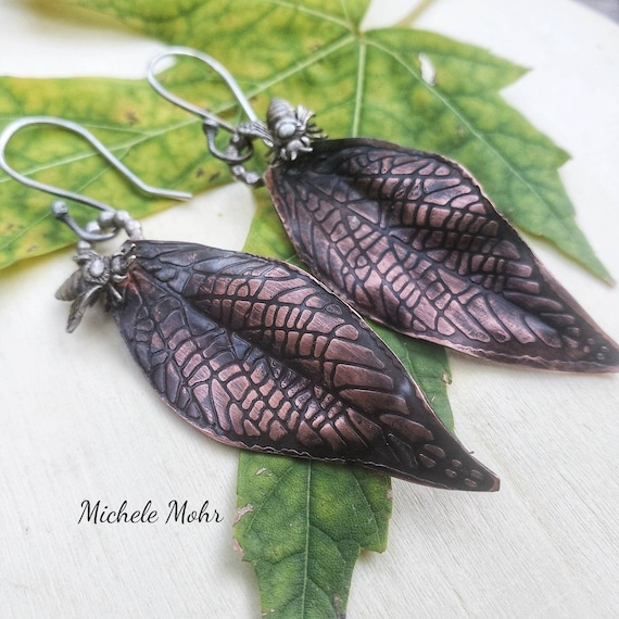 Copper Leaf and Sterling Silver Bee Earrings