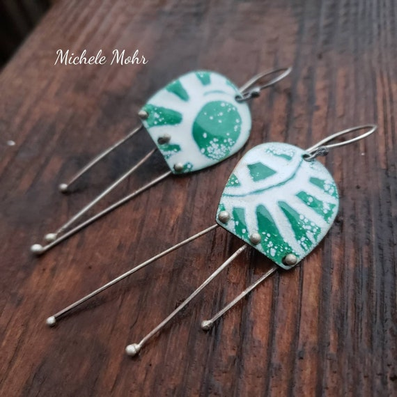 Here Comes the Sun Vitreous Enamel and Sterling Silver Earrings