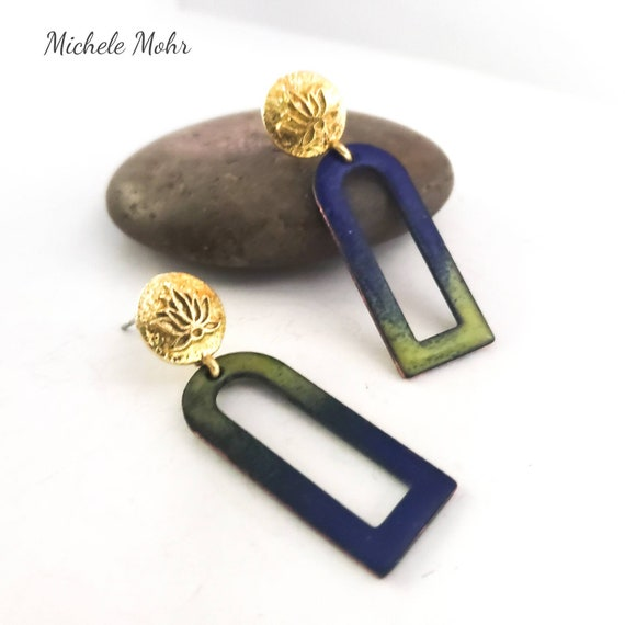 Blue and Green Enamel and Brass Stainless Steel Posts Earrings
