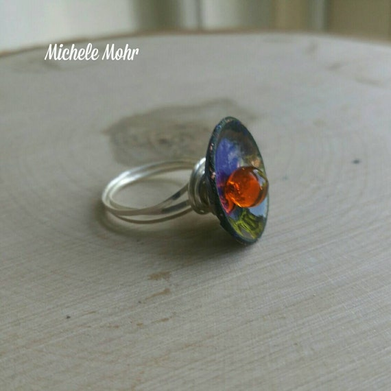 Colors of the Rainbow Enameled copper, glass and sterling silver ring Size 5