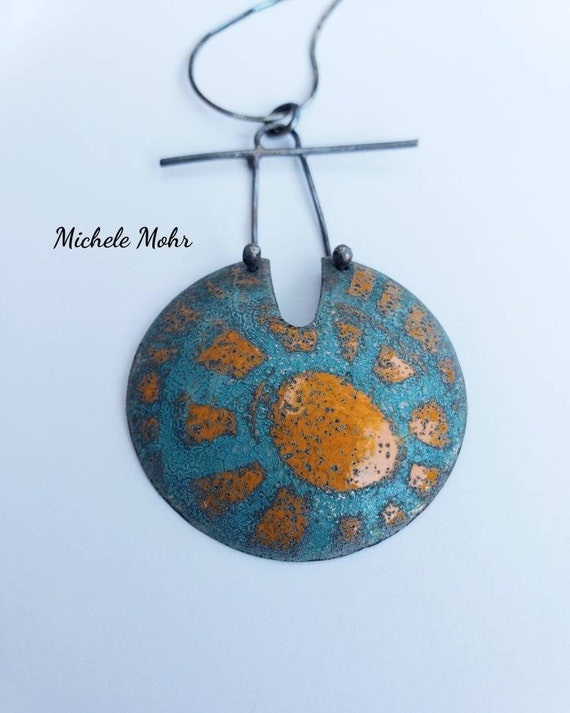 """Eternal Sun Vitreous Enamel and Oxidized Sterling Silver Pendant Adjustable Necklace - up to 18"""""""