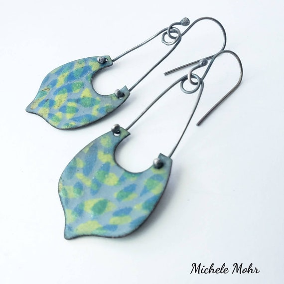 Tranquil Beginnings Vitreous Enamel and Oxidized Sterling Silver Earrings