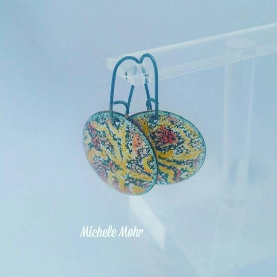 Indian Summer Kiln fired Enamel Earrings on Oxized Sterling Silver ear wires