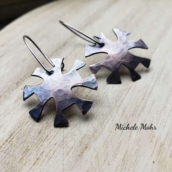 House of the Rising Sun Hammered Copper and Silver Earrings