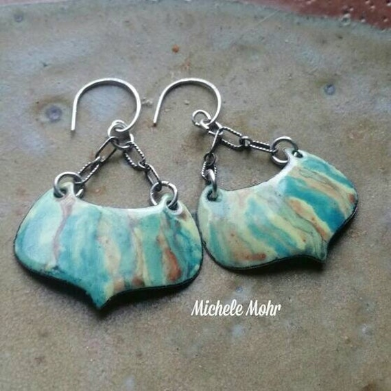 Painterly Kiln Fired Vitreous Enamel Earrings with Sterling Silver Links and Ear Wires
