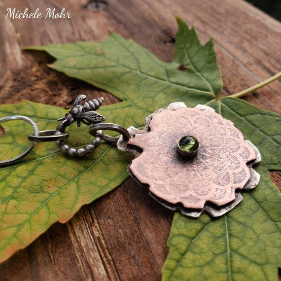 "Bee and Flower Mixed Metal and Peridot Pendant and Adjustable 18"" Sterling Silver Necklace"