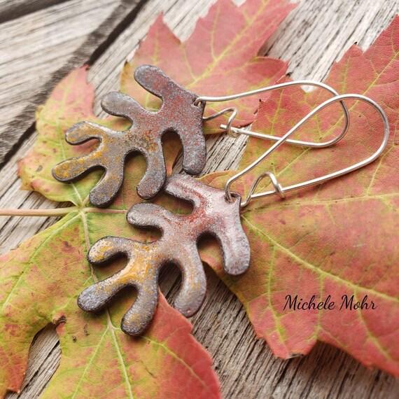 Reversible Vitreous Enamel Leaf Earrings with Sterling Silver Kidney Ear Wires