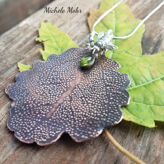"""Copper Leaf, Silver Bee and Peridot Adjustable 18"""" Sterling Silver Necklace"""