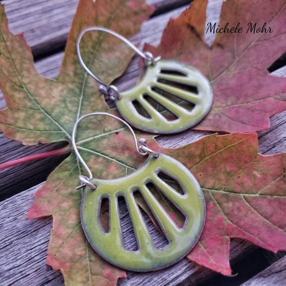 Bitter Green Vitreous Enamel Shield Earrings
