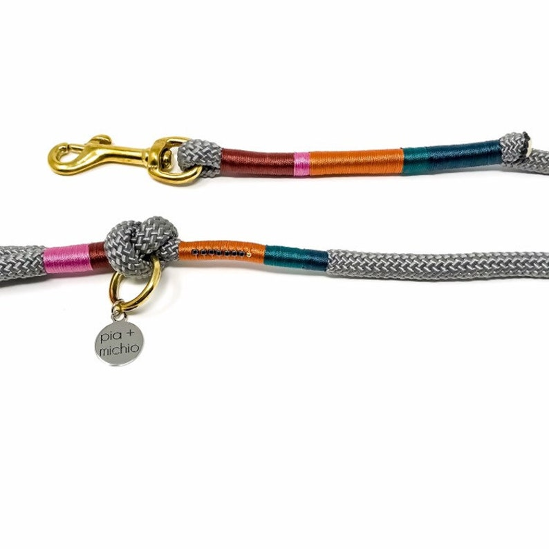 4ft Grey Rope Leash  Brass Leash  Dog Leash  Wedding Leash image 0