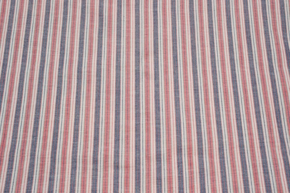 Vintage Blue Pink White Striped Cotton Fabric By The Yard Etsy