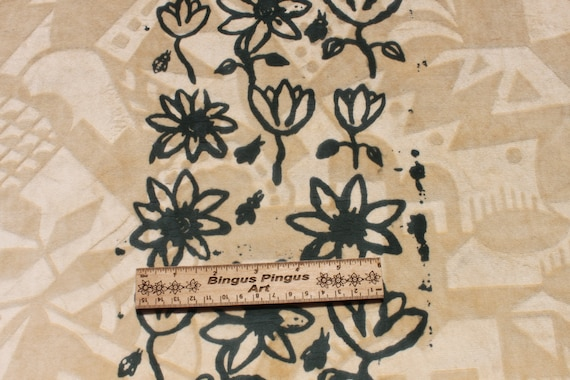 Vintage Cut Velvet Fabric With Green Painted Flowers Heavy Etsy