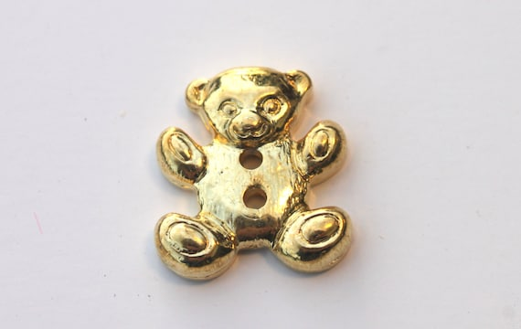 Lot of 50 Vintage Teddy Bear Buttons Gold Colored Novelty Plastic 1 inch
