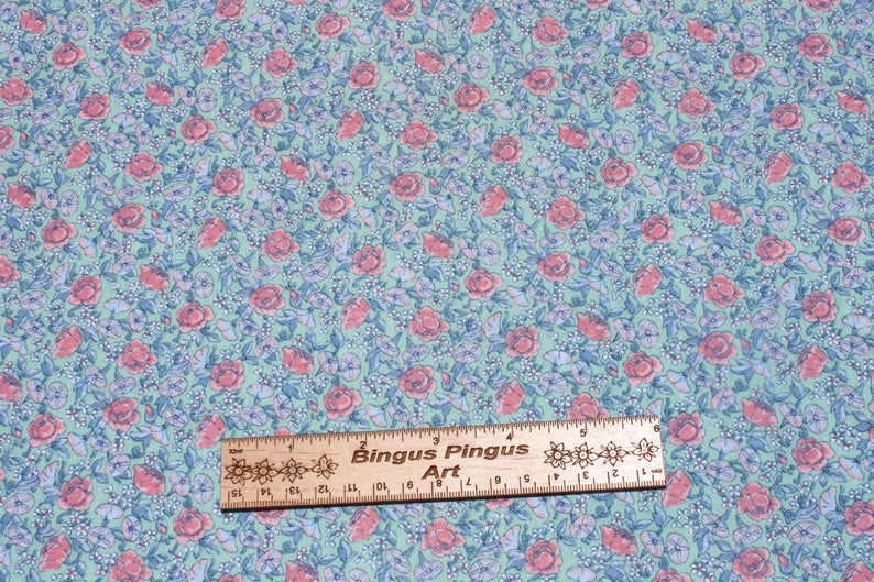 Floral Doll Dress Sewing Quilting Fabric Vintage Pink Purple Small Flowers on Mint Green Cotton Fabric By the Yard