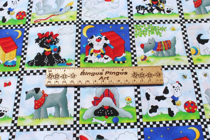 Sewing Quilting Rainbow of Primary Colors in a Patchwork Faux Quilt Cute Puppy Dog Cotton Kids Fabric Cloth Face Mask