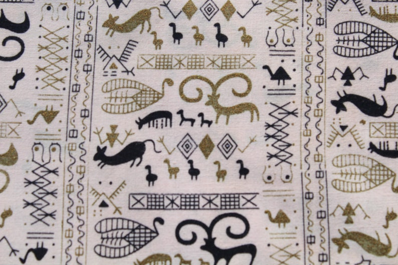 Vintage Small Print Hieroglyphic Cotton Fabric in Pink Gold Black 1 23 yards Retro 50s Animal Material