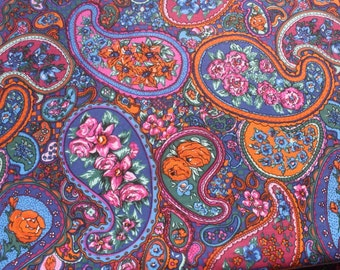 Vintage Border Paisley Fabric by the yard, Soft Cotton Sewing Floral Flower Blue Orange BTY Yardage
