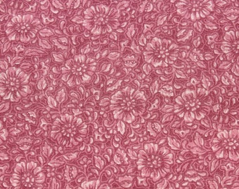 Vintage Floral Dusty Pink Rose Cotton Fabric, Small Print Flower Quilting Sewing Fabric, 1 yard