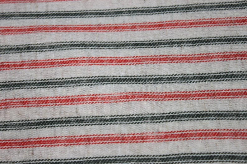 55ef31e949a Vintage Stretchy Knit Jersey Fabric Red Green Striped