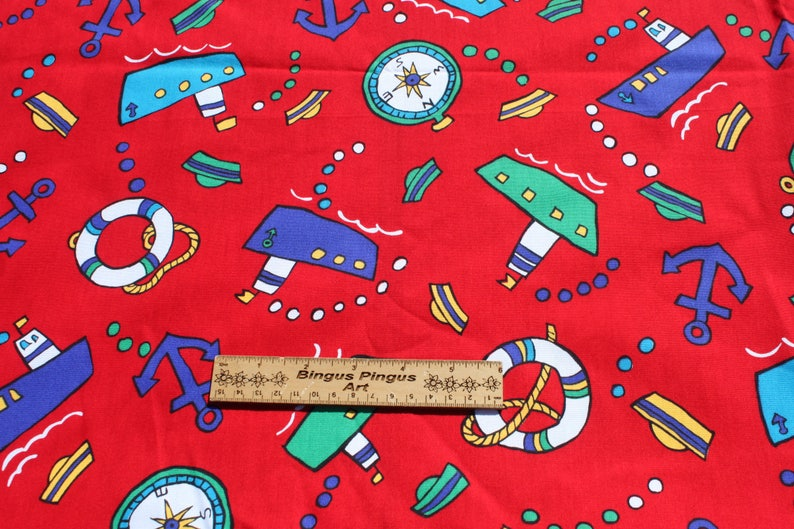 Yardage BTY Ship Anchor Primary Color Material for Sewing Blue Green Quilting Red Boat Kids Cotton Fabric By the yard
