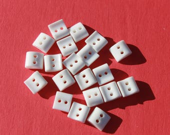 "Vintage Small Square White Plastic Buttons, Doll Clothes Craft Sewing, 3/8"", Lot of 20 Buttons"
