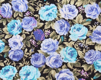 Vintage Small Print Blue Purple Rose Cotton Fabric, Small Print Floral Flower Quilting Sewing John Kaldor Fabric, 1 yard