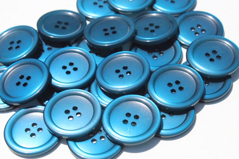Lot of 50 Large Royal Blue Crafting Buttons Round Plastic Sewing Coat Jacket Made in USA 1 18 inch Ear Saver Head Band