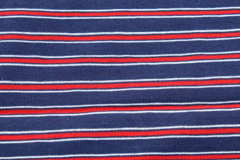 96b4ef01b3 Red White Blue Striped Knit Jersey Fabric by the Yard T-shirt
