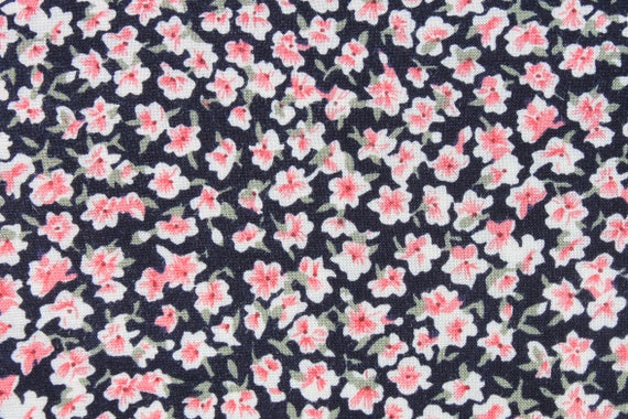 Vintage small print red pink white flowers on black soft cotton vintage small print red pink white flowers on black soft cotton rayon fabric blouse skirt dress sewing fabric almost 1 yard from binguspingusart on etsy mightylinksfo